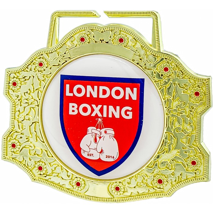 85MM XXL CHAMPIONSHIP BELT MEDAL CUSTOM VINYL DOMED CENTRE (6MM THICK) **STUNNING DESIGN**