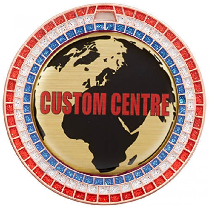 70MM COPPER GEMSTONE CUSTOM CENTRE DOMED VINYL MEDAL **SPARKLE**