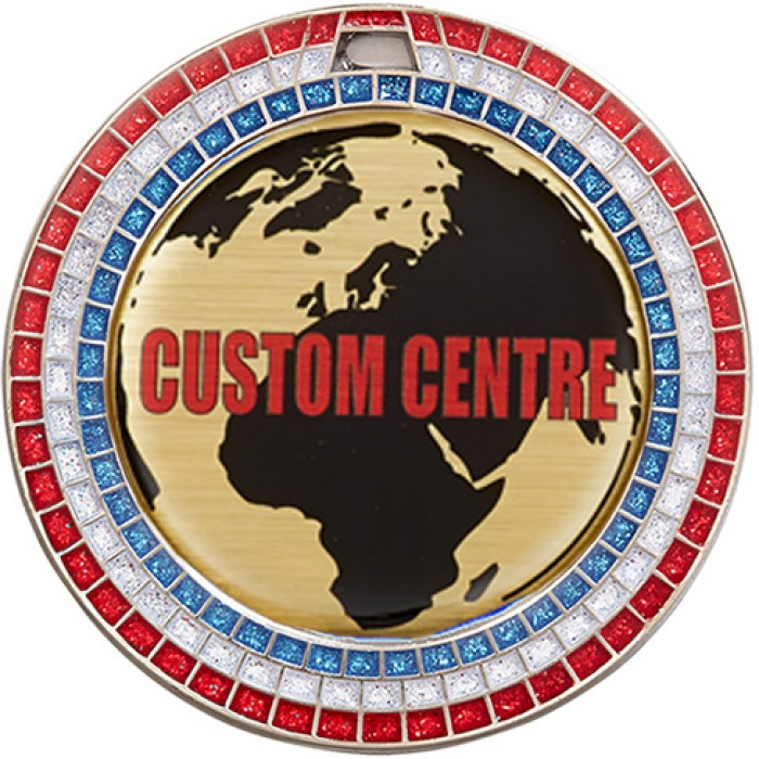 70MM SILVER GEMSTONE CUSTOM CENTRE DOMED VINYL MEDAL **SPARKLE**