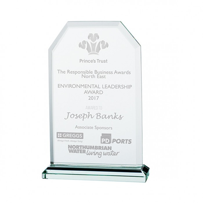 EXECUTIVE JADE GLASS CRYSTAL AWARD - 125MM - AVAILABLE IN 3 SIZES